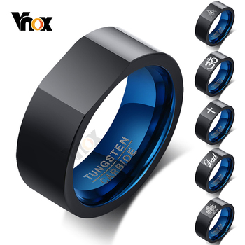 Vnox Personalzied 8mm Tungsten Ring for Men Square Top Life Tree Cross Engraved Black Qualified Wedding Band Casual Gents Gift