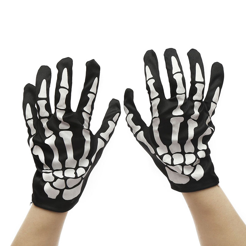 1Pair Funny Prank Scare People Knitted Gloves Toys Creative Halloween Bone Glove Party Supplies Children Entertainment Toy