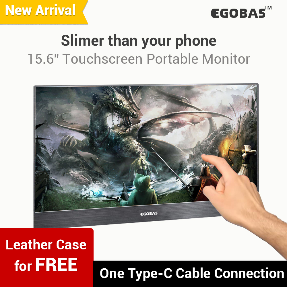 15.6'' Portable Monitor Touch Screen Ultraslim Monitor For Gamers Laptop Phone PS4-switch-XBOX Type-C, Mini HDMI 1080P Monitor