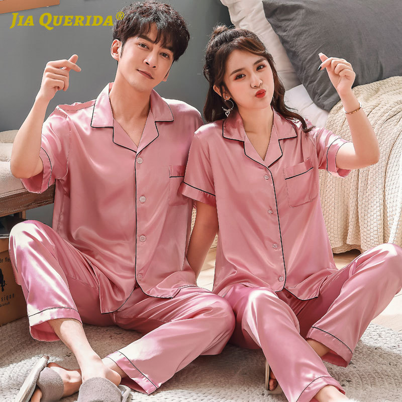 Fashion Style Casual Pink Men And Women Couple Pajamas Set Short Sleeve Long Pants Imitated Silk Satin Silk Turn Down Collar