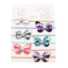 6Pcs/Set Glitter Butterfly Baby Headband Set Crown Knotted Hair Band With Elastic Nylon Kids Accessories