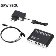 Convertidor de audio digital a analógico, estéreo AC3 de 5,1 canales, amplificador de decodificador de sonido óptico SPDIF coaxial AUX a 6RCA, 3,5mm
