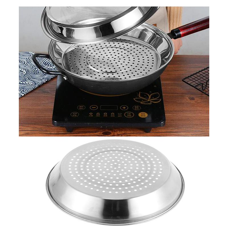Stainless Steel Steaming Dish With Holes Thick Steamer Rack Food Plate Cookware (for 30/34cm Wok)