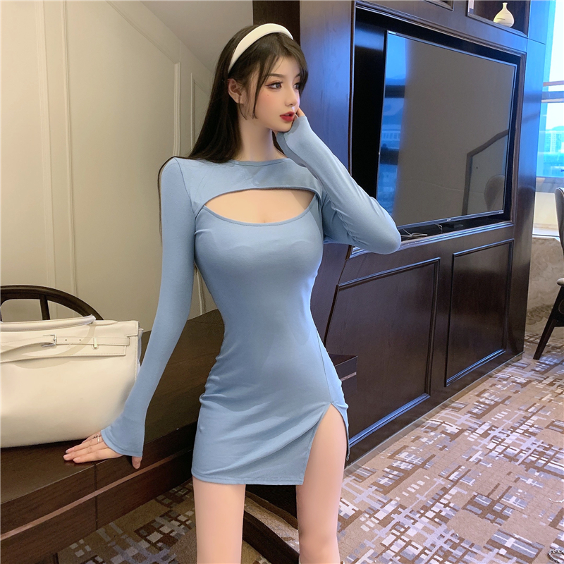 Full-Sleeve Mini Sexy Sweet And Slim Sexy Split Hollow Slimming Bag Buttocks Slimming Bottoming Ladies Dress