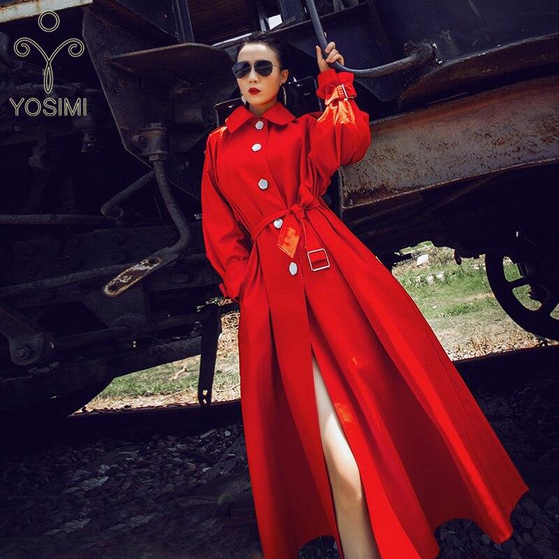 YOSIMI 2019 Autumn Winter Maxi Coat Women Long   Trench   Coat Belt Turn-down Collar Skirt Stlye Large Size One Size Red Windbreaker