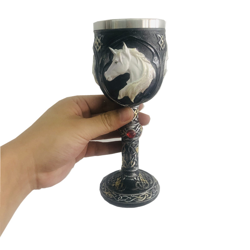 150ml/450ml Resin 3d Wolf Totem Red Wine Glasses 18/8 Stainless steel Coffee&Tea Mug Travel With Handle Unicorn Beer Goblet Cup