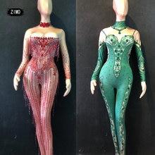 модная одежда Стразы с кисточками зеленый красный комбинезон