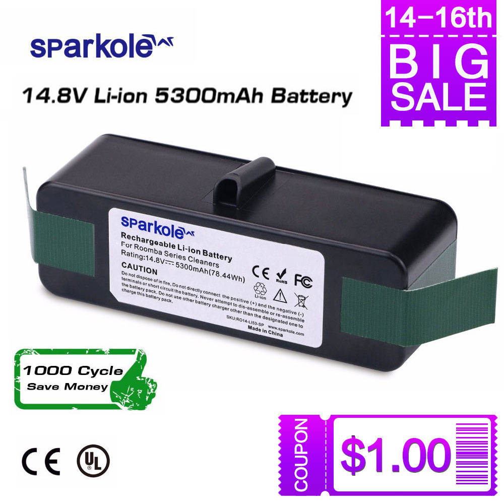 Sparkole 5.3Ah 14.8V Li-ion Battery For IRobot Roomba 500 600 700 800 Series 510 531 555 560 620 630 631 650 760 770 780 870 880