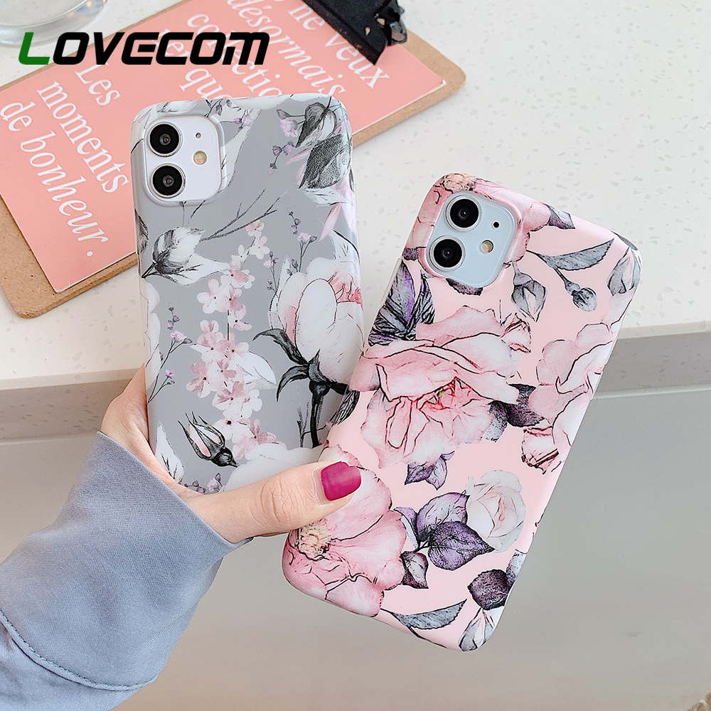 LOVECOM Vintage Pressed Flower Phone Case For IPhone 11 Pro Max XR XS Max 7 8 6 6S Plus X Matte Soft IMD Back Cover Coque Gift