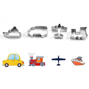 4pcs Stainless Steel Vehicle Cookie Cutter Car Train Ship Candy Biscuit Mold Cooking Tools Pastry Cake Fondant Cutters Mould