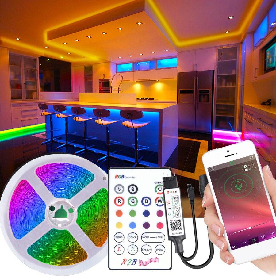 Luz led quarto dc 12v bluetooth fita led 5050 rgb tira led luz controle remoto flexível fita listra luzes de natal