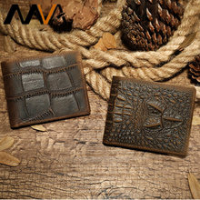 MVA Wallets Men's Genuine Leather Purse Crocodile Pattern Short Wallets Male Purse For Men Card Holder Man Business Bags 7001(China)