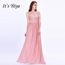 Its Yiiya Bridesmaid Dresses Chiffon Plus Size Floor-Length Robe De Soiree C451 A-Line O-Neck Sleeveless Bridesmaid Dress 2020.