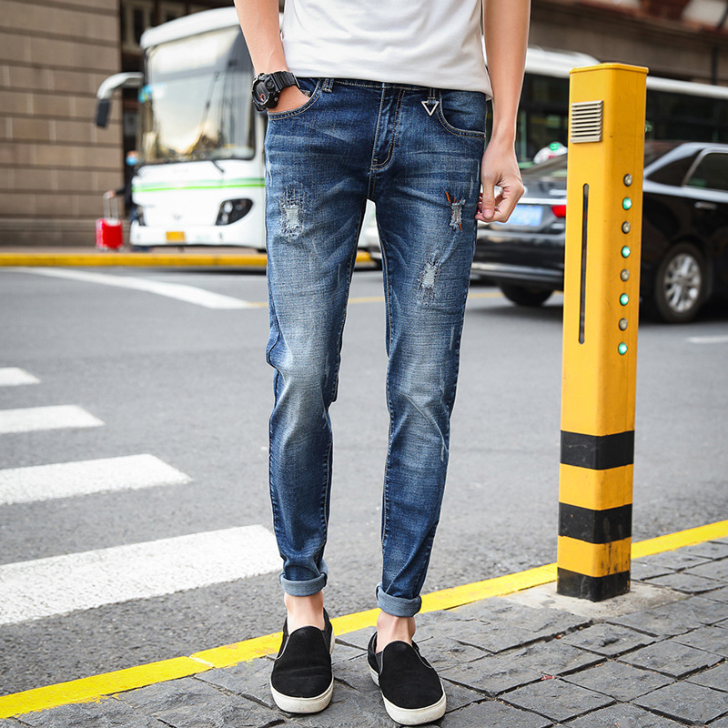 Summer Ultra-Thin Men's Frayed Elasticity Skinny Jeans Young MEN'S Korean-style Slim Fit Pleated Patch Long Pants Men's