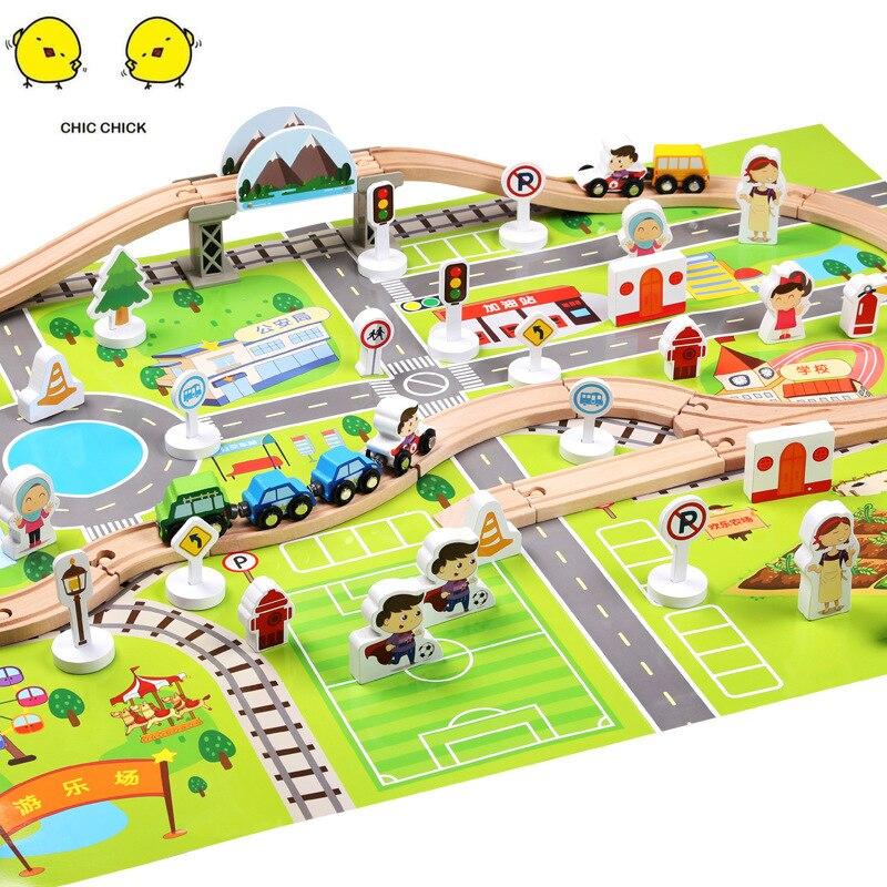 Ensemble de scène de transit ferroviaire urbain en bois train d'intelligence pour enfants assemblé en bois jouets cadeau de noël cadeau d'anniversaire