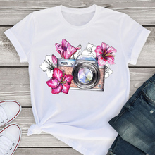 Women Graphic Flower Camera Floral Cute Printed Short Sleeve Summer Lady WomensT