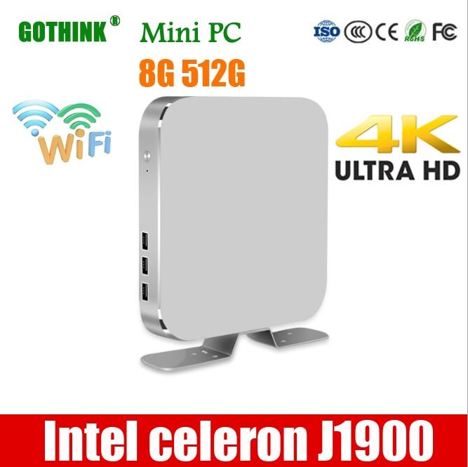 GOTHINK мини ПК Intel celeron J1900 Quad-core 1,99 ГГц Поддержка частоты WIN7/8/10 LINUX system 2G/16G 300 м Вай-Фай HDMI выбоина