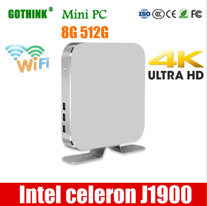 GOTHINK mini pc Intel celeron J1900 Quad-core 1,99 Ghz frequenz unterstützung WIN7/8/10 LINUX system 2G 16G 300M WiFI HDMI pock