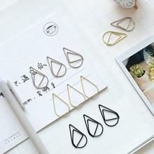 10 Pcs/lot Cute Kawaa Korean Metal Paper Clip Gold Silver Black Color Bookmark Stationery Office Accessory School Supply