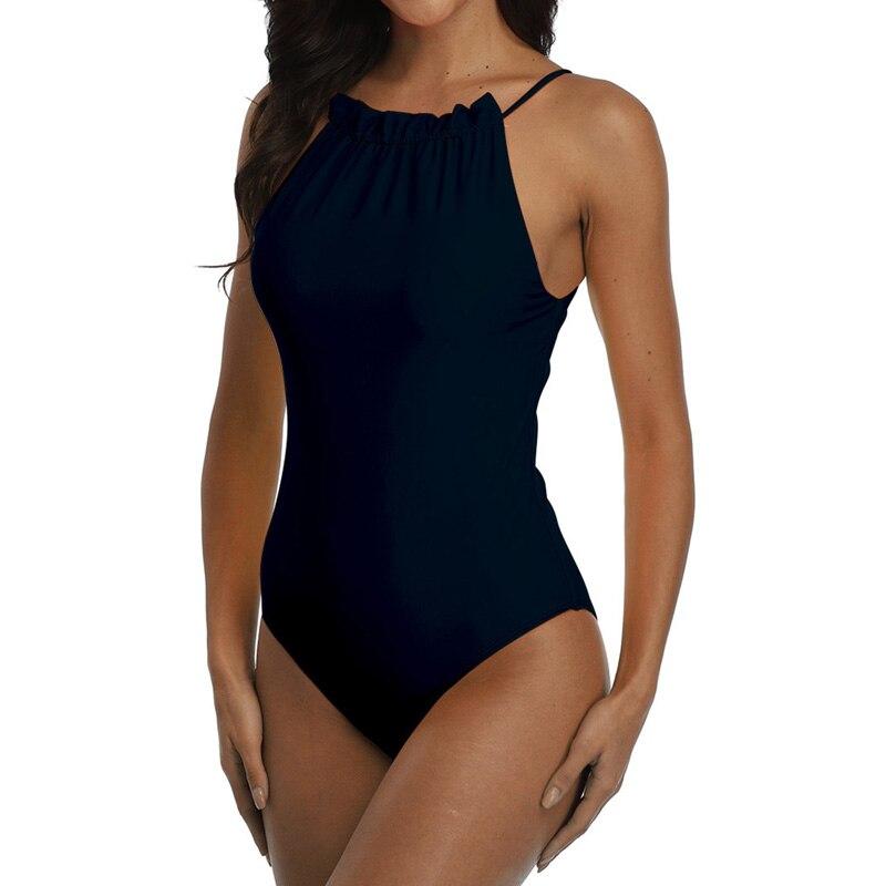 Image 2 - Riseado Ruffled Swimsuits One Piece Solid Swimwear Female 2020 New Beach Wear Black Bathing Suits Sexy Bodysuit Tie Bath Suit    -