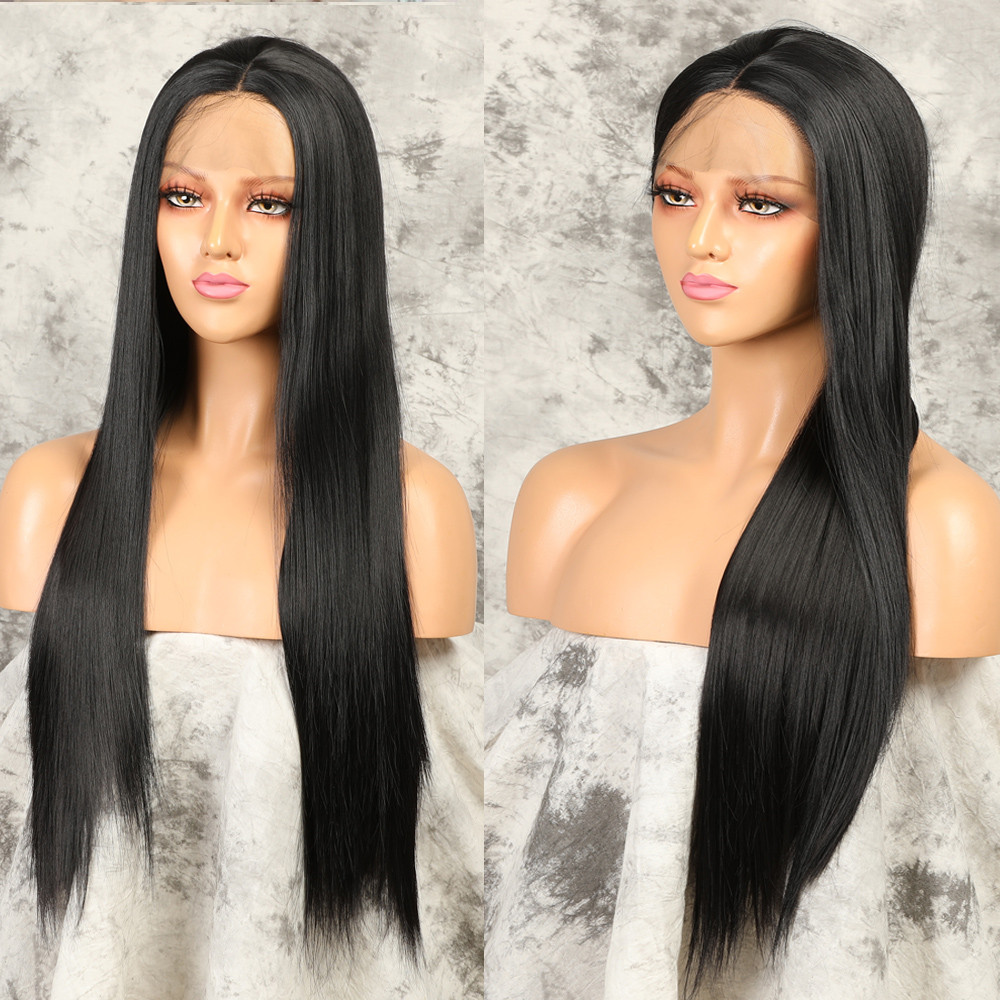 13x4 Lace Front Wigs Long Straight Heat Resistant Fiber Synthetic Wig For Women Pre Plucked With Natural Hairline And Baby Hair