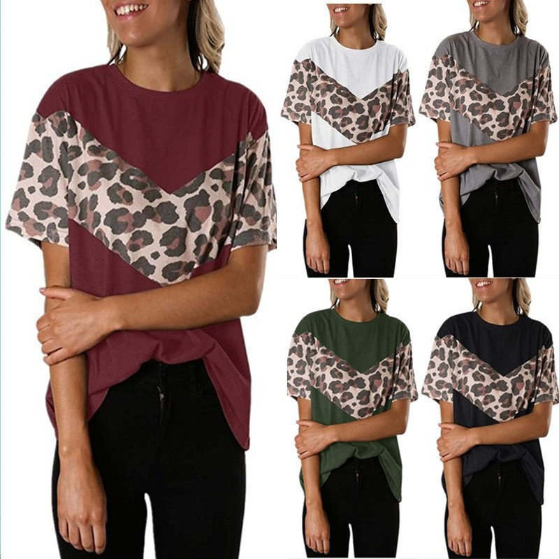 TIFENNY Womens Long Sleeve Pullover Spring New Leopard Printing Patchwork Tunic T-Shirt Fashion Casual Tops Blouse