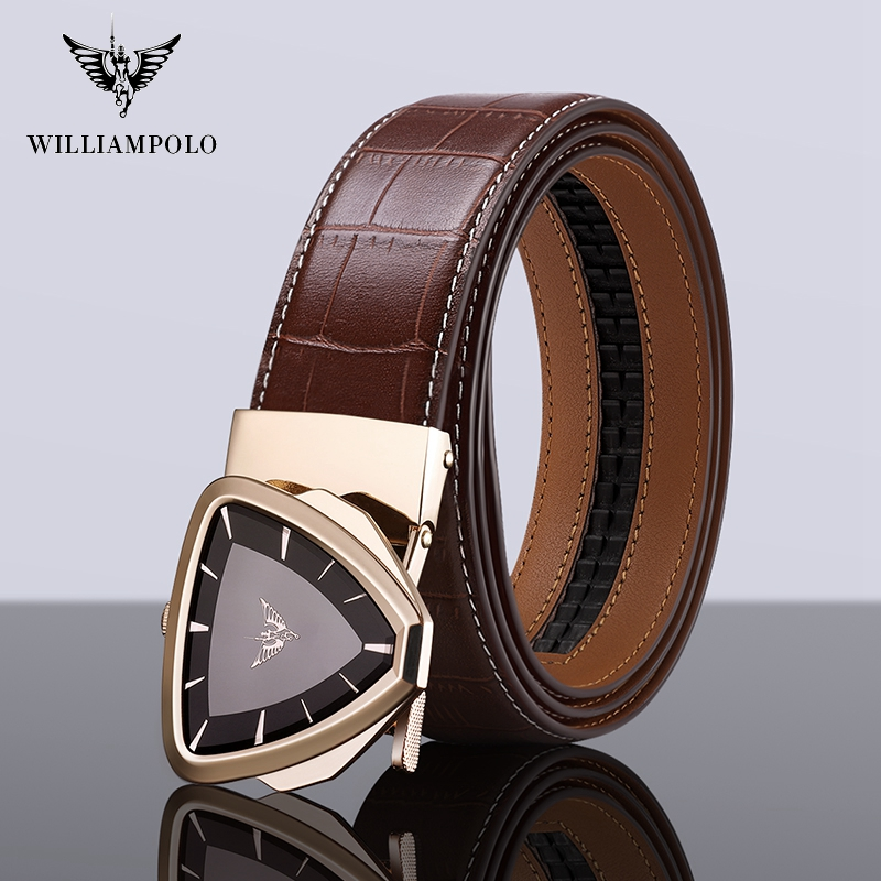 Williampolo Male Belt New Designer Men's Belts Luxury Fashion Belt Luxury Brand for Men High Quality Automatic Buckle #19688-90P