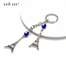 EVIL EYE Tower Charm Keychain Silver Color Glass Turkish Eye Key Chain Holder Car Keyring for Women Girls Fashion Jewelry EY2667 50pcs zinc alloy plating silver angel girl charm rotating lobster keychain key chain fit fashion jewelry findings for women f551