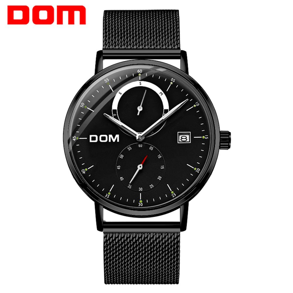DOM Men Watches Luxury Brand Multi Function Mens Sport Quartz Watch Waterproof Steel Belt Business Clock Wrist Watch M-436BK-1M