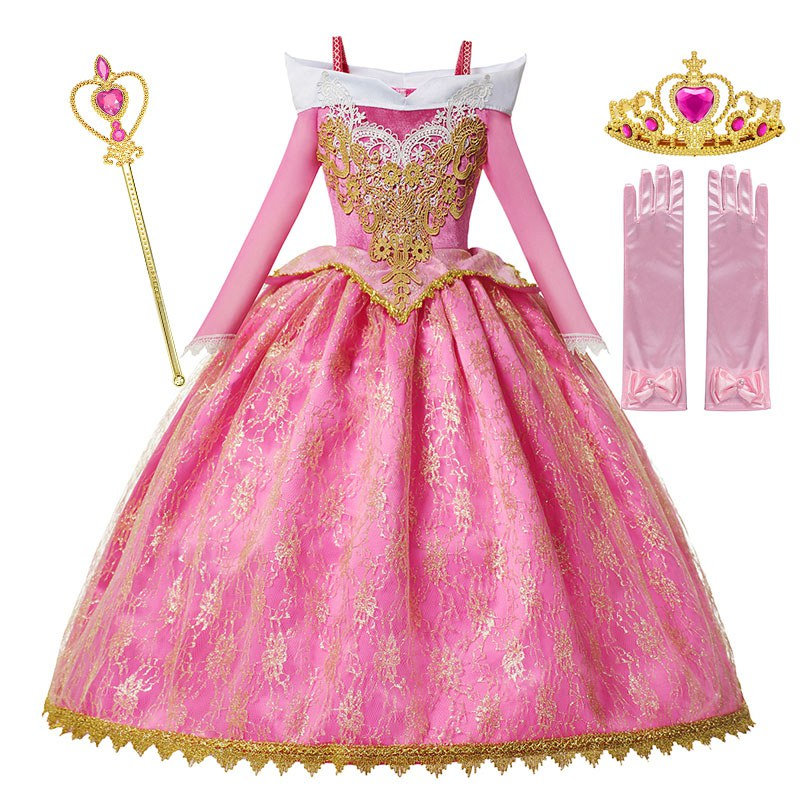 MUABABY Girls Deluxe Aurora Princess Costume Long Sleeve Sleeping Beauty Pageant Party Gown Children Fancy Dress Up Frocks