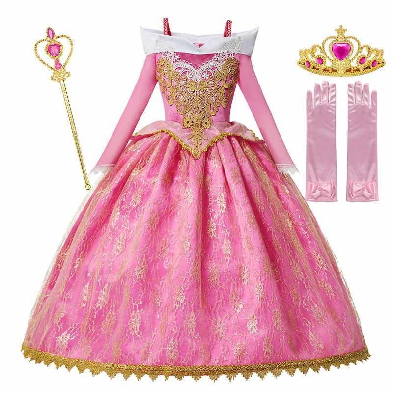 MUABABY kızlar Deluxe uyku güzellik prenses kostüm uzun kollu Pageant parti elbisesi çocuk süslü elbise Up Frocks 3-10T