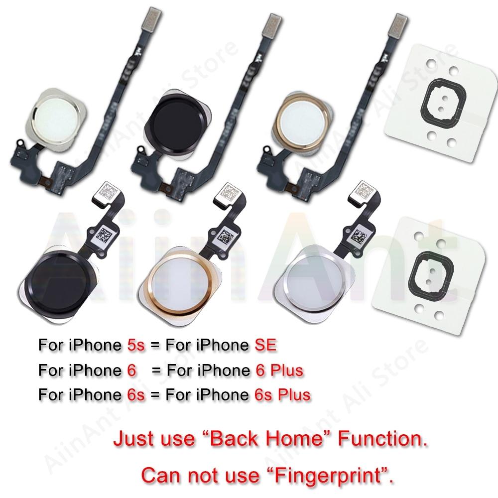 Home-Button Flex For iPhone 6 6s 7 8 Plus 5s SE Return Back Home Button With Flex Cable Rubber Sticker No Touch ID Fingerprint