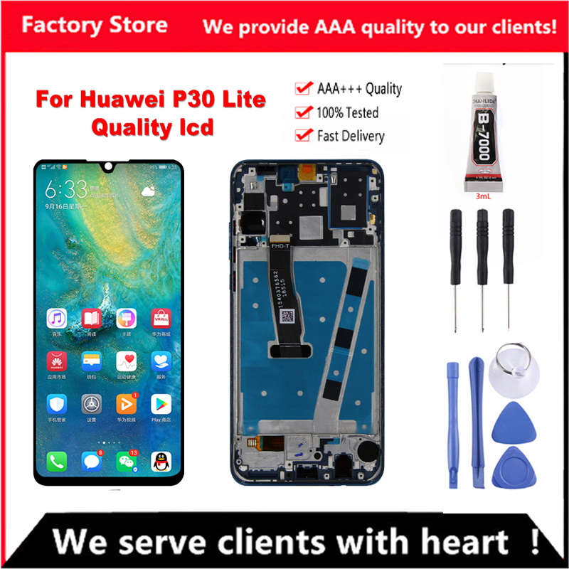 For HUAWEI P30 Lite Screen Nova 4e Original LCD With Frame For HUAWEI P30 Lite LCD Display Screen Digitizer Assembly MAR-LX1 LX2