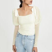2019 Autumn Solid Patchwork Elegant Women Shirt Square Collar Puff Sleeve Drawstring Bow Backless Sexy Blouse Zipper Top