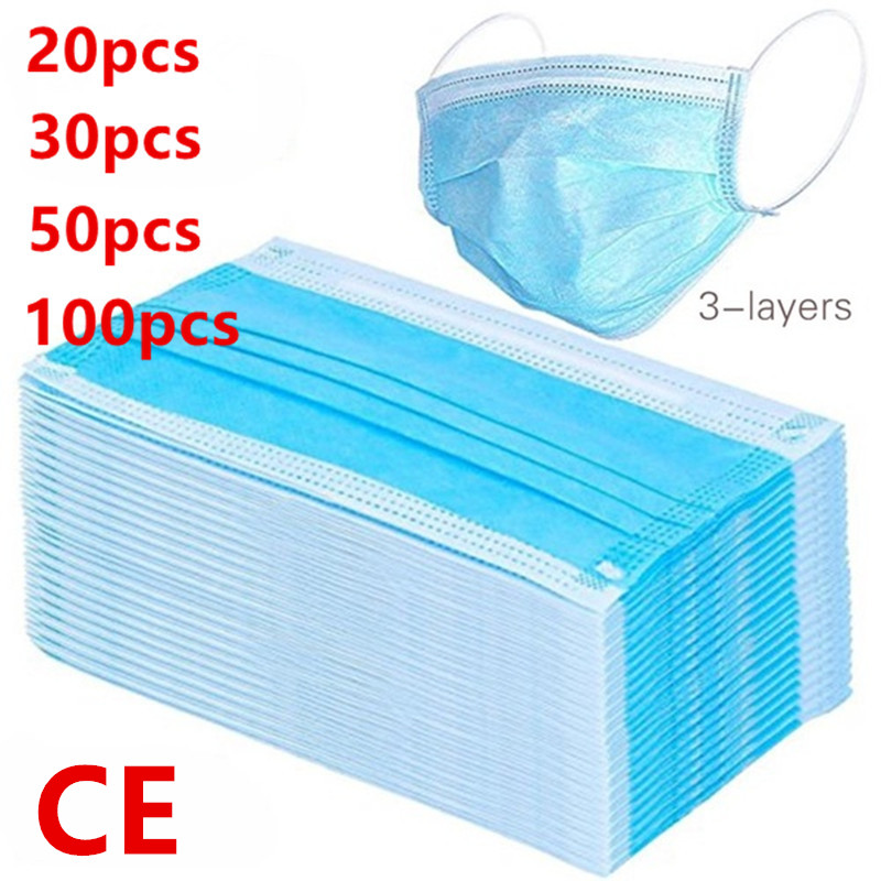100/50/30/20/10/Pcs 3-Layer Filter Medical Masks Non-woven Face Mouth Masks Anti Pollution CE Certificate Anti-Dust Masks Unisex