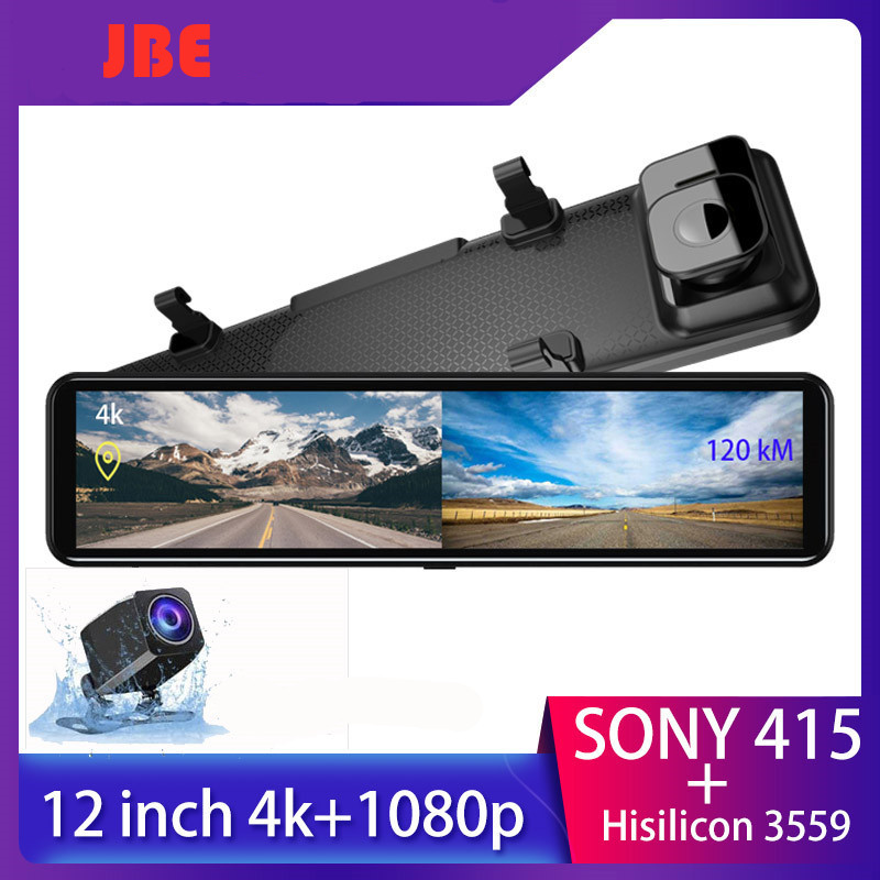 4K Dash cam 12 Inch Stream Media Rear view Mirror 2160P Ultra HD Car Dvr Dual lens Camera with GPS Sony IMX 415 Video recorder