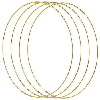 4 Pack 12 Inch Large Metal Floral Hoop Wreath Gold Rings for Making Decor and DIY Dream Catcher Wall Hanging Crafts - discount item  18% OFF Wedding Accessories