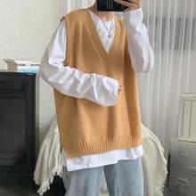 Корейский свитер жилет мужская мода однотонный Повседневный