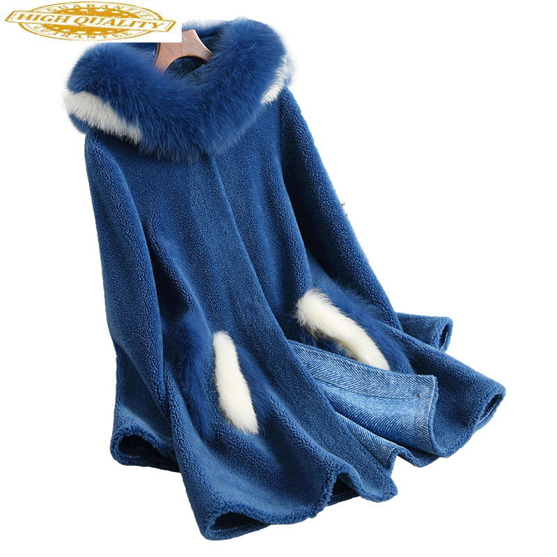 Women's Fur Coat Female Thick Wool Fur Jacket Real Fox Fur Hooded Mid-long Jackets For Women Winter 2020 18054 WYQ1876