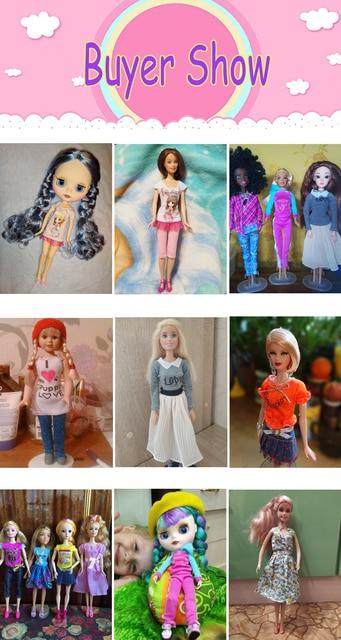 1 PCS Fatti A Mano Abito di Moda Abito Corto Cute Cartoon Modello T-Shirt Leggings Pantaloni Accessori Vestiti per la Bambola di Barbie Giocattolo 2