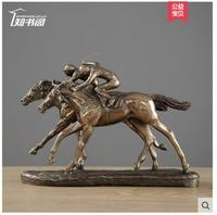 Horse racing wine cabinet furnishings Riding Horse Sculpture ecoration living room wine cabinet character moving gifts