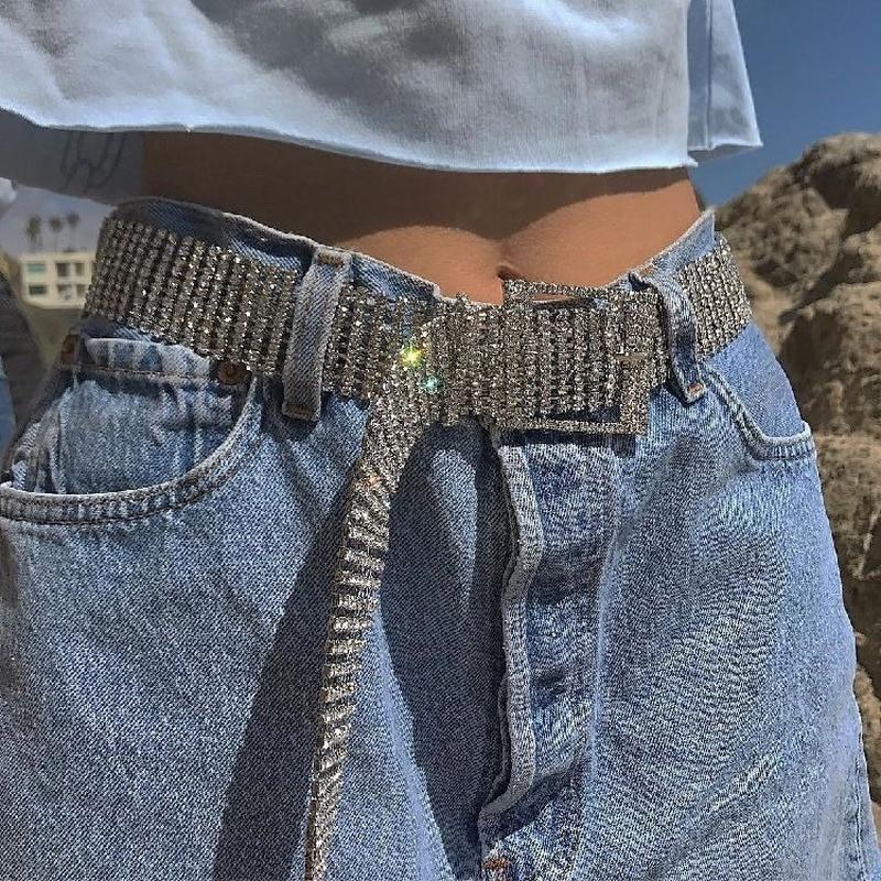 Punk Fashion Women's Belt Waist Chain Full Diamond Rhinestone Crystal Belt Luxury Large Party Waist Belt For Women Silver Gold