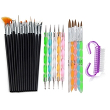 цена на 26Pcs Nail Art Stripe Lines Liner Painting Brush Acrylic UV GEL Extension Builder Drawing Rhinestone Handle Pen Cleaning Tools