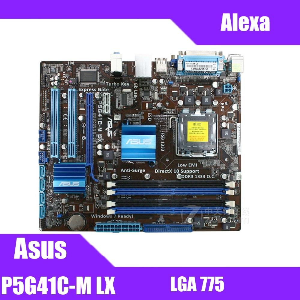 Asus P5G41C-M LX Desktop Motherboard G41 Socket LGA 775 Q8200 Q8300 DDR2/3 8G U ATX UEFI BIOS Original Used Mainboard On Sale