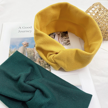 Women Headband Solid Color Wide Turban Twist Knitted Cotton Hairband  Hair Accessories Twisted Knotted Headwrap 3