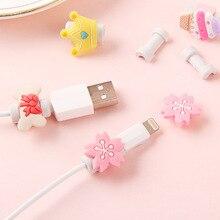Unids/lote de protectores de Cable de teléfono para iPhone y Samsung, Protector de Cable de carga USB de silicona colorida con dibujos animados, protección de Cables USB, 100