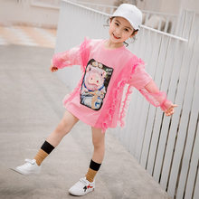 Girls Tshirt Fashion Cute Cartoon Pig Shape Print for Teenage Clothes Lace Long Petal Sleeve Tops