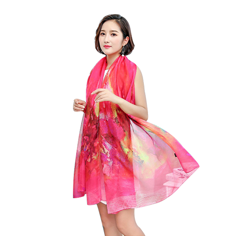 Spring Summer Beach Scarf Women Long Poncho Luxury Ladies Silk Scarves Large Sun Wrap Shawl Female Pashimina Chiffon Bandana