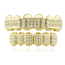 Shiny Rhinestone Gold Silver Color Teeth Grillz For Unisex Top Bottom Grills Set Dental Vampire Tooth Caps Fashion Teeth Jewelry