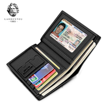 Laorentou Men Wallet Genuine Leather Casual Wallet for Men Short Wallet Standard Wallets Card Holders Vintage Luxury Man Purse